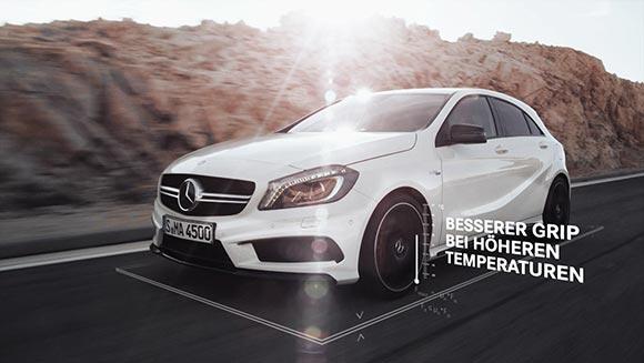Im Product Motion Design werden die Vorteile der Winterkompletträder von Mercedes Benz veranschaulicht,