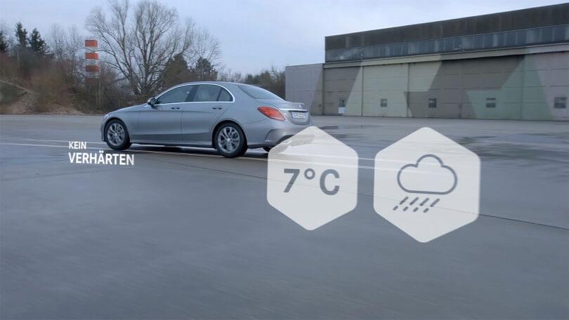 Die Winterkompletträder von Mercedes Benz werden mittels Corporate Motion Design vorgestellt.