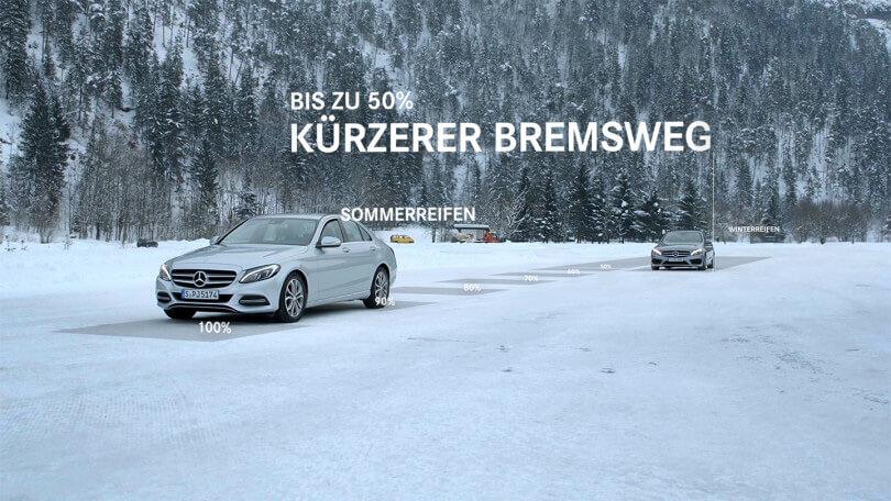 Der Produktfilm von Mercedes Benz theamtisiert die Wichtigkeit von hochwertigen Winterkompletträdern.