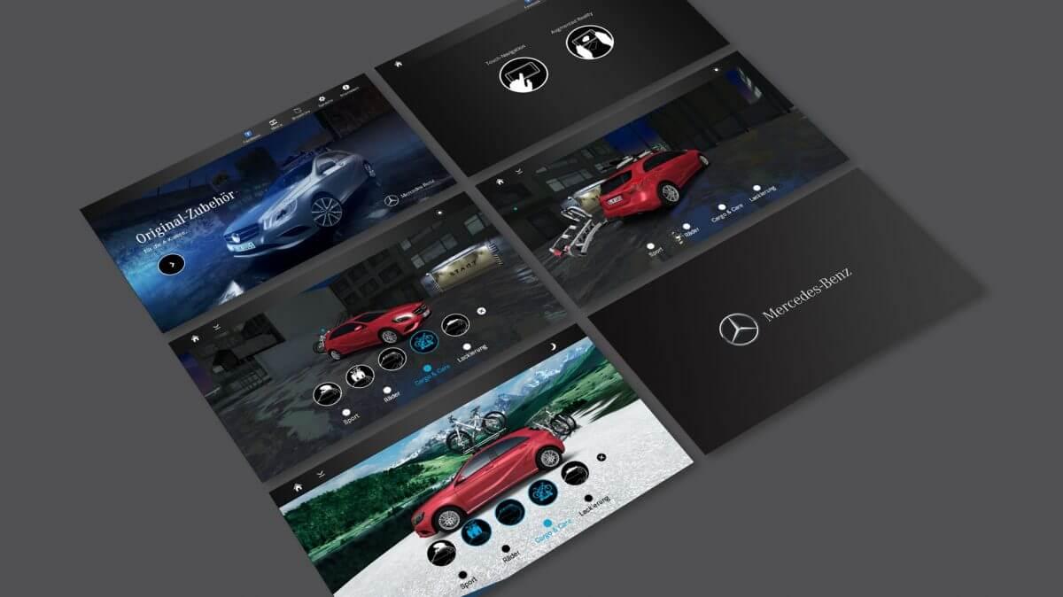 Kunden von Mercedes Benz können durch die Augmented Reality Mobile App ein Auto interaktiv mit Zubehör austatten.