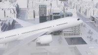 Plansee Thin Film 3D-Animation Smart Glass im Flugzeug