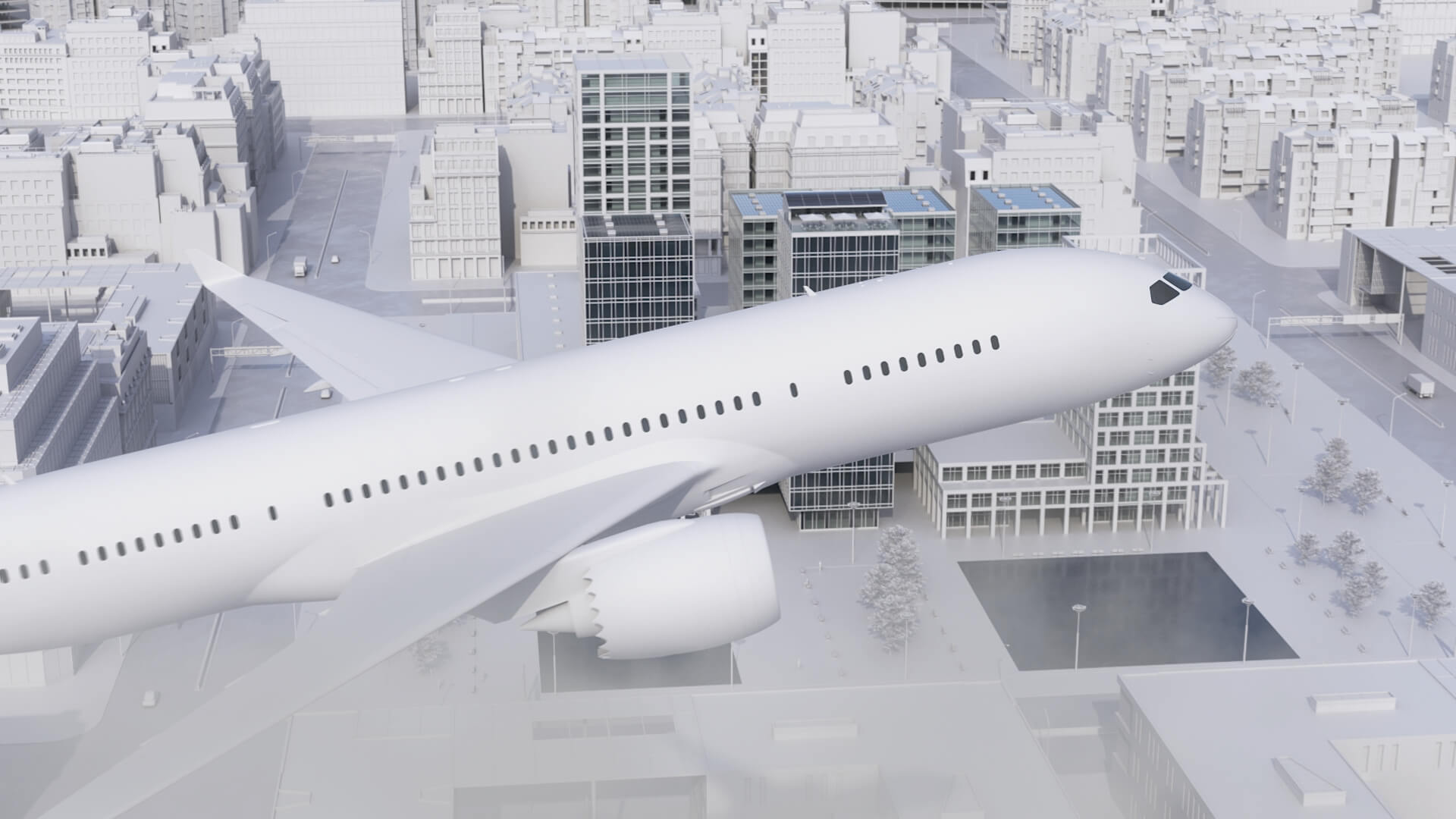 Plansee Thin Film 3D-Animation Smart Glass im Flugzeug