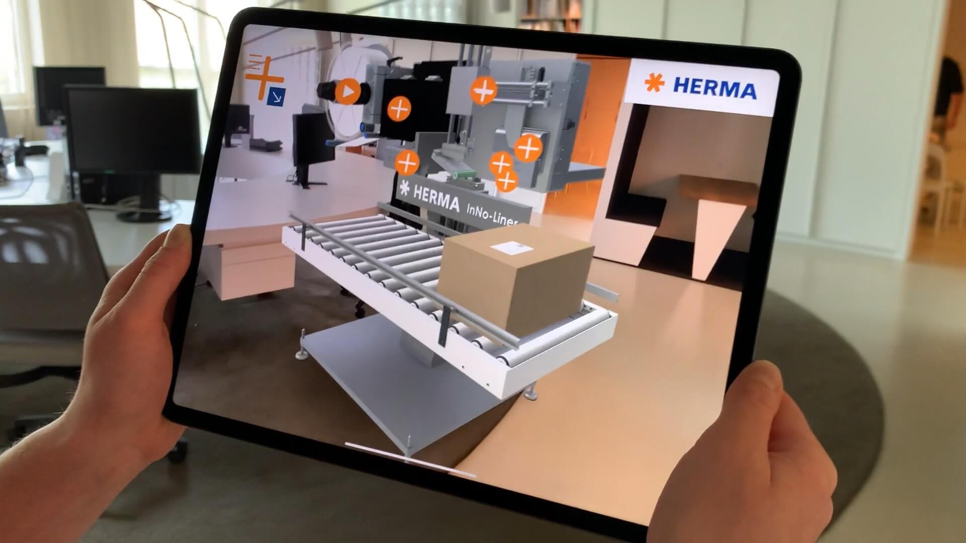 HERMA InNo-Liner Augmented Reality App - das trägerlosen Etikettiersystem. Erstellen Sie es in Ihrer realen Welt, zu jeder Zeit und an jedem Ort.