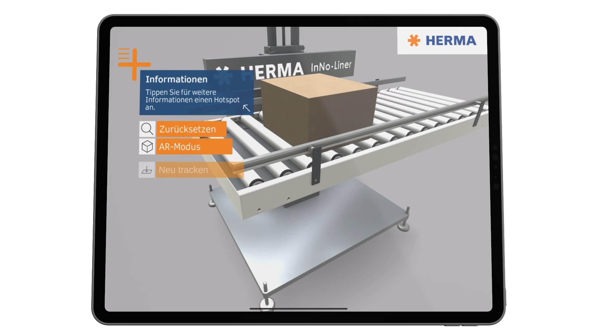 HERMA InNo-Liner Augmented Reality App - das trägerlosen Etikettiersystem. Frei beweglich und schneller Perspektivenwechsel im Isolationsmodus.