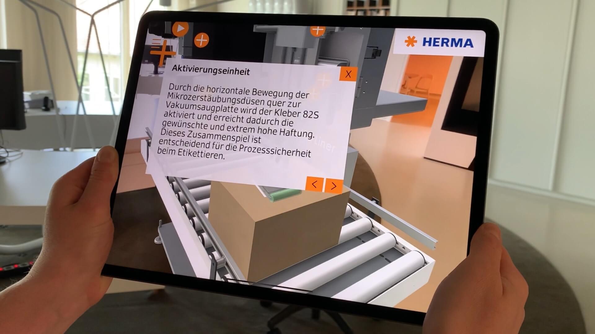 HERMA InNo-Liner Augmented Reality App - das trägerlosen Etikettiersystem. Einfaches Einbinden von Hotspots mit Dokumenten und Videos