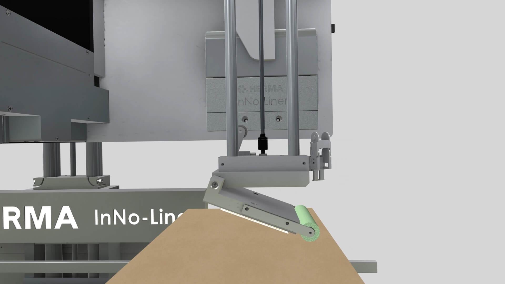 HERMA InNo-Liner Augmented Reality App - das trägerlosen Etikettiersystem. Das Etikett wird angebracht